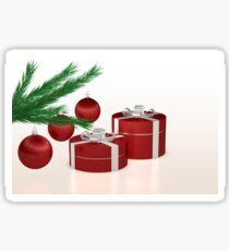 Christmas gift, red balls and fir branch  Sticker