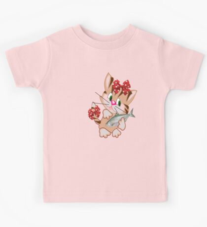 Kitty with Fish T shirt  , Tote bag and pillow (4411 Views) Kids Clothes