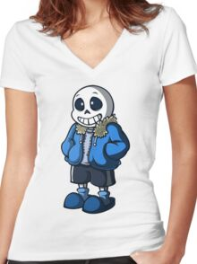 Sans Cartoon Style Women's Fitted V-Neck T-Shirt