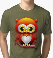 Baby Owl Love Heart Cartoon  Tri-blend T-Shirt