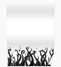 Deep Tentacle Action (Black) Poster