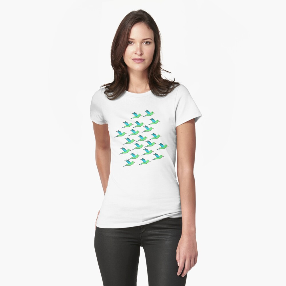 Cute Birds Fitted T-Shirt