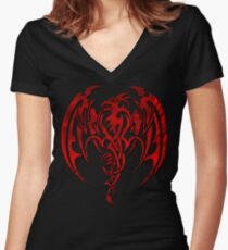 Red Dragon Women's Fitted V-Neck T-Shirt
