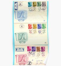 First day cover of an Israeli stamp Full set of the tribes of Israel on three envelopes from 1955 Poster