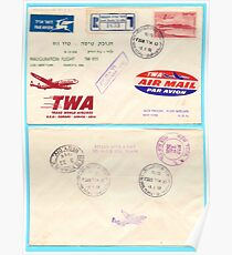 Inauguration flight TWA (Trans World Airlines) Lod to New York 1956 Poster