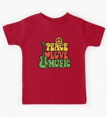 Reggae Peace Love Music Kids Tee