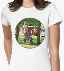 Two Sisters Playing on Swing Womens Fitted T-Shirt