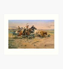 American, Cowboy, The Herd Quitter, Painting, C.M. Russell Art Print