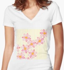 Girly Pink Watercolor Flowers Yellow White Stripes Women's Fitted V-Neck T-Shirt