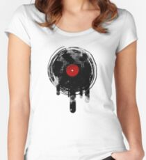 Melting Vinyl Records Vintage Women's Fitted Scoop T-Shirt