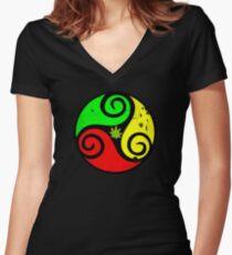 Reggae Love Vibes - Cannabis Reggae Flag Women's Fitted V-Neck T-Shirt