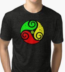 Reggae Love Vibes - Cannabis Reggae Flag Tri-blend T-Shirt