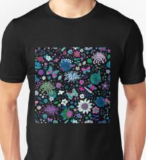 Japanese Garden - Pink, green, blue and white on Black Unisex T-Shirt