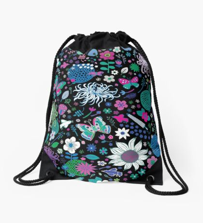 Japanese Garden - Pink, green, blue and white on Black - exotic floral pattern by Cecca Designs Drawstring Bag