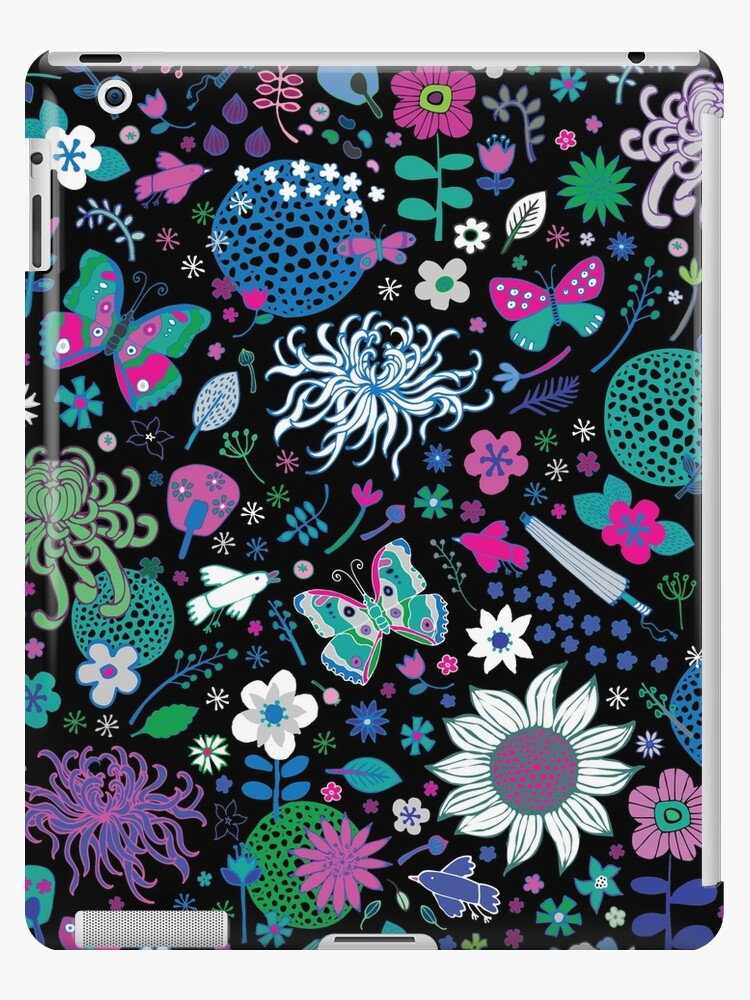 Japanese Garden - Pink, green, blue and white on Black - exotic floral pattern by Cecca Designs by Cecca-Designs