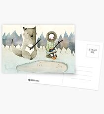The Little Inuit Girl And The Wolf Postcards