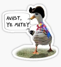 Pirate Captain Duck with Hook Hand Sticker