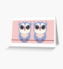TWIN BLUE OWLETS Greeting Card