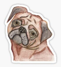 Cute Hand Painted Black Brown Watercolor Pug Dog Sticker
