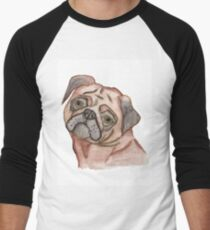Cute Hand Painted Black Brown Watercolor Pug Dog T-Shirt