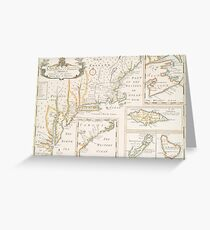 Historic Map of North america Greeting Card