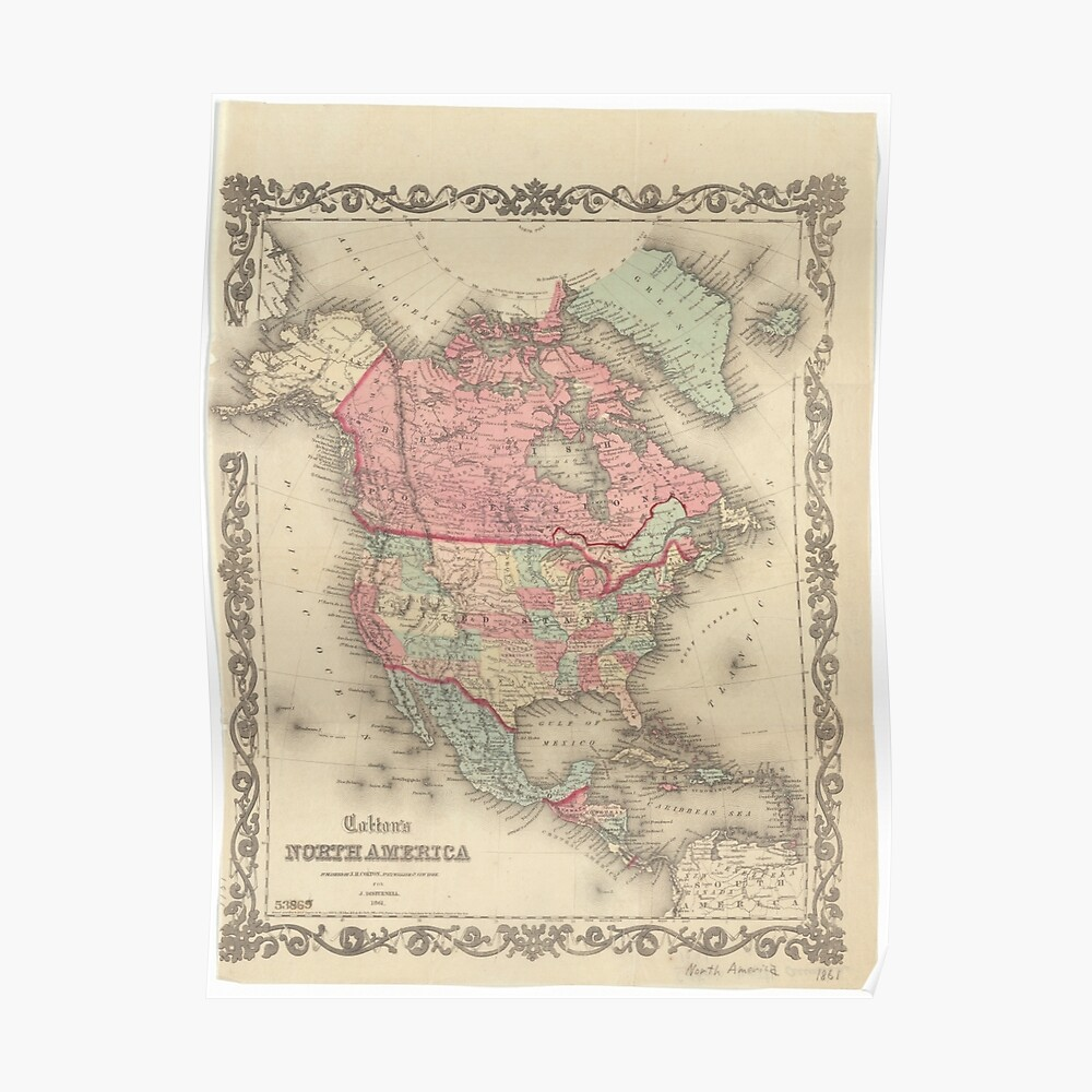1861 North America Map   Poster