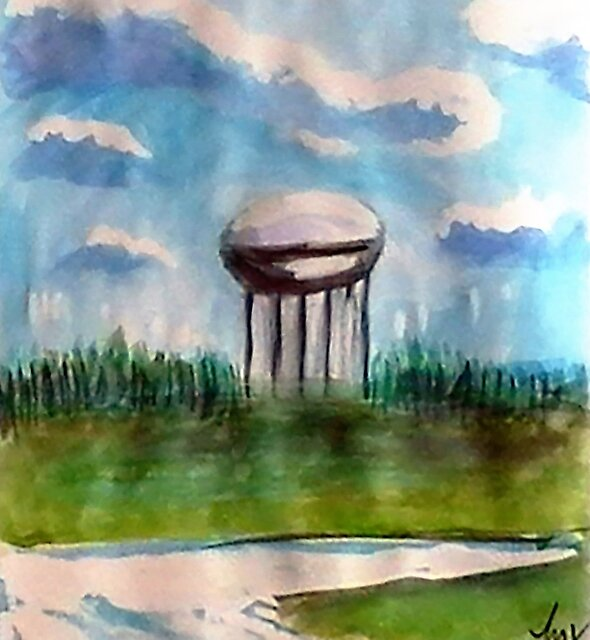 Raines Road Watertower by Loretta Nash