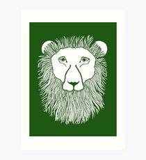 Green Lion Loves You Art Print