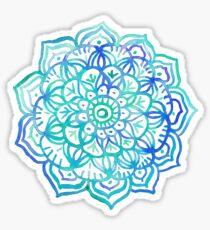 Watercolor Medallion in Ocean Colors Sticker