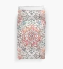 Autumn Spice Mandala in Coral, Cream and Rose Duvet Cover