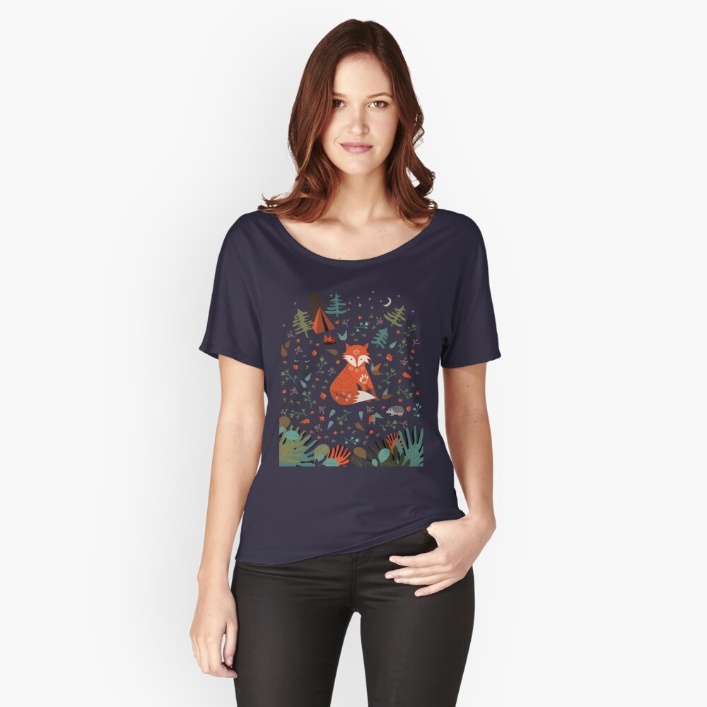 Camping With Fox Relaxed Fit T-Shirt