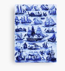 VINTAGE SAILING VESSELS AND SHIPS,Navy Blue Nautical Collection Canvas Print