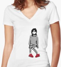 little red sneakers Women's Fitted V-Neck T-Shirt