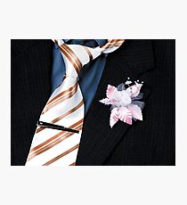 wedding groom suit and tie and a flower closeup Photographic Print