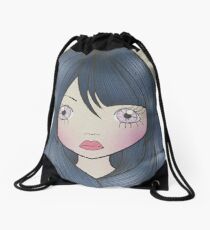 Dollhouse Girl Blue Drawstring Bag