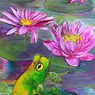 Frog on lilypond by Marg Pearson