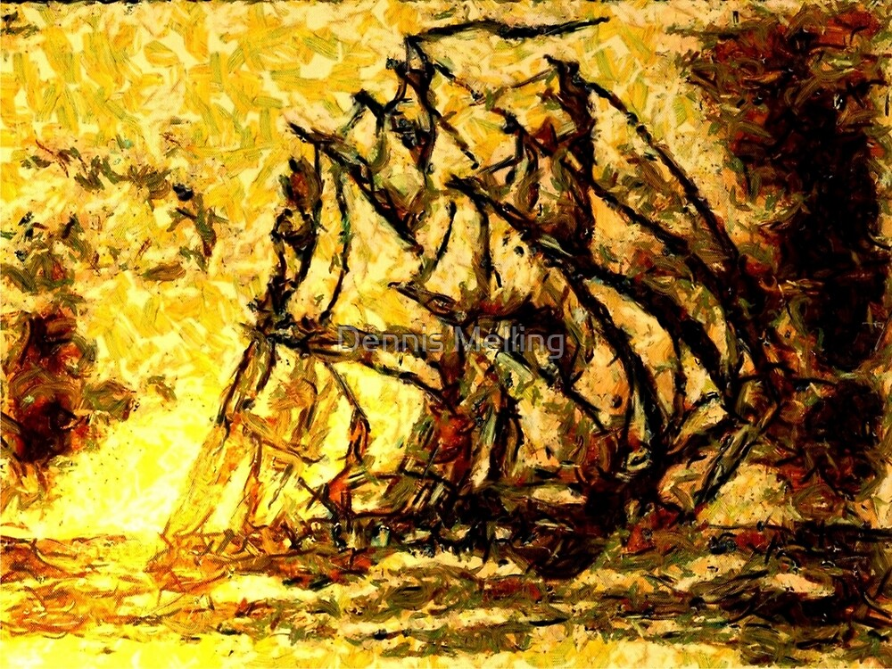 A digital painting of A Clipper Ship Racing the Sun by Dennis Melling