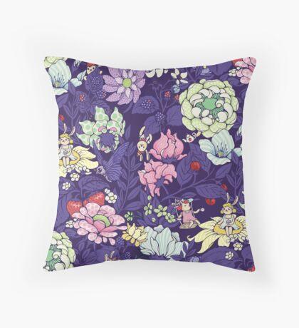 The Garden Party - blueberry tea version Throw Pillow