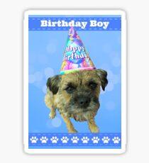 Border Terrier Birthday Boy Card Blue Sticker