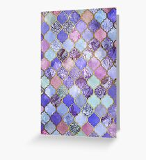 Royal Purple, Mauve & Indigo Decorative Moroccan Tile Pattern Greeting Card