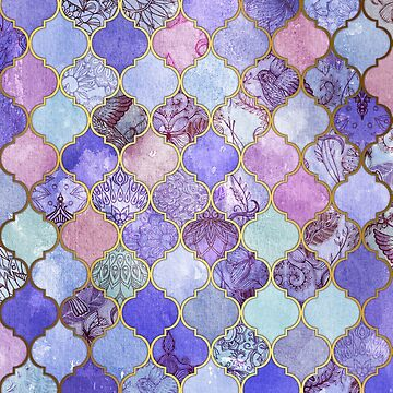 Patrón decorativo de azulejos marroquíes de Royal Purple, Mauve & Indigo de micklyn