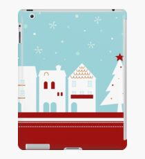 Winter christmas town with falling snow iPad Case/Skin