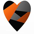 Metal Heart - Abstract, Geometric Metallic Heart by Printpix