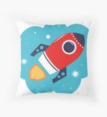 Spaceship or Rocket in Blue Cloud Throw Pillow
