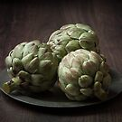 Still Life with artichokes 2 by Dave Milnes
