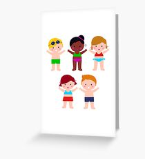 Little cute colorful summer Kids Greeting Card