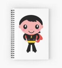 Cute young Super hero boy - Black + Red Spiral Notebook