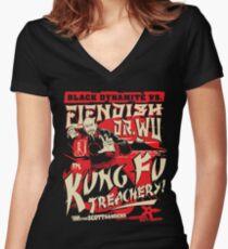 Black Dynamite vs. Fiendish Dr. Wu Women's Fitted V-Neck T-Shirt