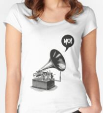 Hip-Hop Gramophone Women's Fitted Scoop T-Shirt