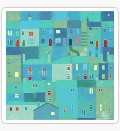 Blue town from the steps Sticker